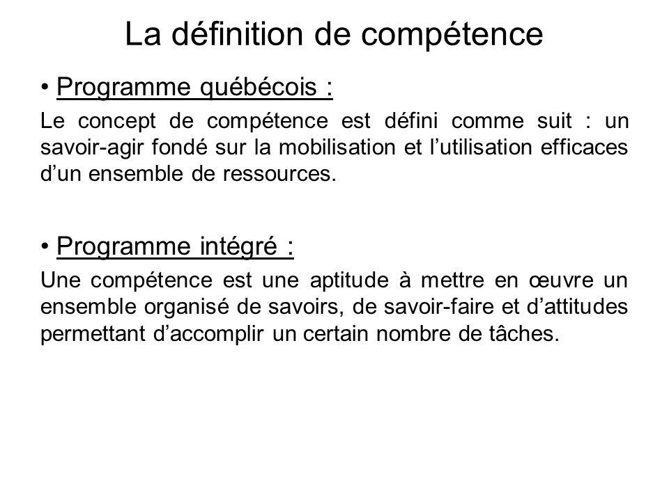 La définition de compétence • Programme québécois : Le concept de compétence est défini comme suit : un savoir-agir fondé sur la mobilisation et l'utilisation efficaces d'un ensemble de ressources.