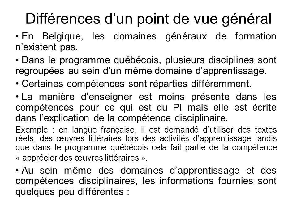 Différences d'un point de vue général • En Belgique, les domaines généraux de formation n'existent pas. • Dans le programme québécois, plusieurs disci