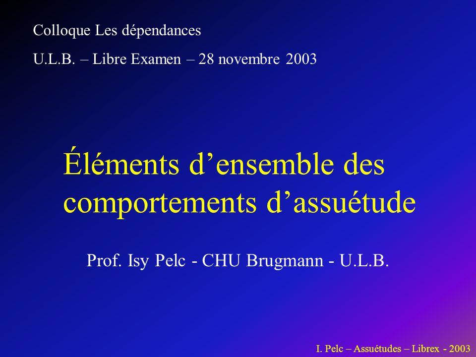 I. Pelc – Assuétudes – Librex - 2003 Prof. Isy Pelc - CHU Brugmann - U.L.B. Éléments d'ensemble des comportements d'assuétude Colloque Les dépendances