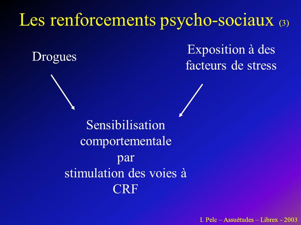 Les renforcements psycho-sociaux (3) I. Pelc – Assuétudes – Librex - 2003 Drogues Exposition à des facteurs de stress Sensibilisation comportementale