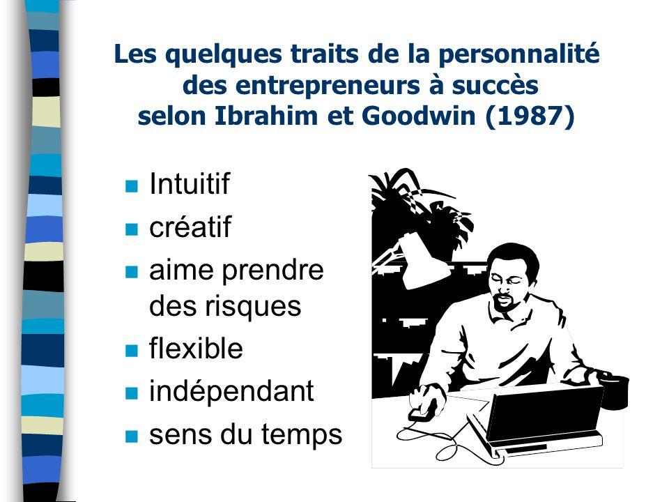 Les quelques traits de la personnalité des entrepreneurs à succès selon Ibrahim et Goodwin (1987) n Intuitif n créatif n aime prendre des risques n fl
