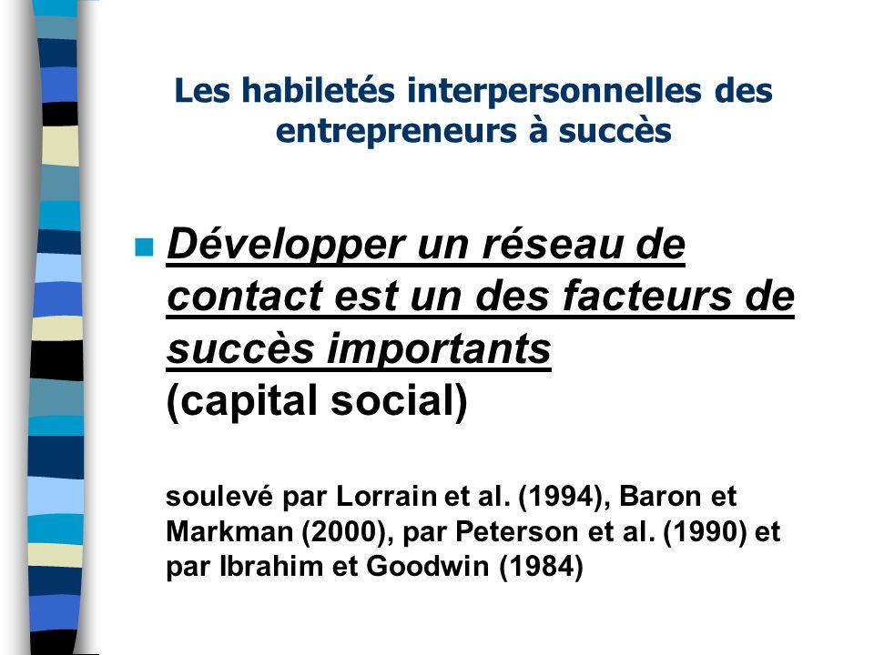 n Développer un réseau de contact est un des facteurs de succès importants (capital social) soulevé par Lorrain et al. (1994), Baron et Markman (2000)