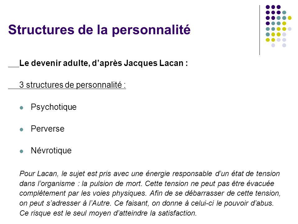 Le devenir adulte, d'après Jacques Lacan : 3 structures de personnalité :  Psychotique  Perverse  Névrotique Pour Lacan, le sujet est pris avec une énergie responsable d'un état de tension dans l'organisme : la pulsion de mort.
