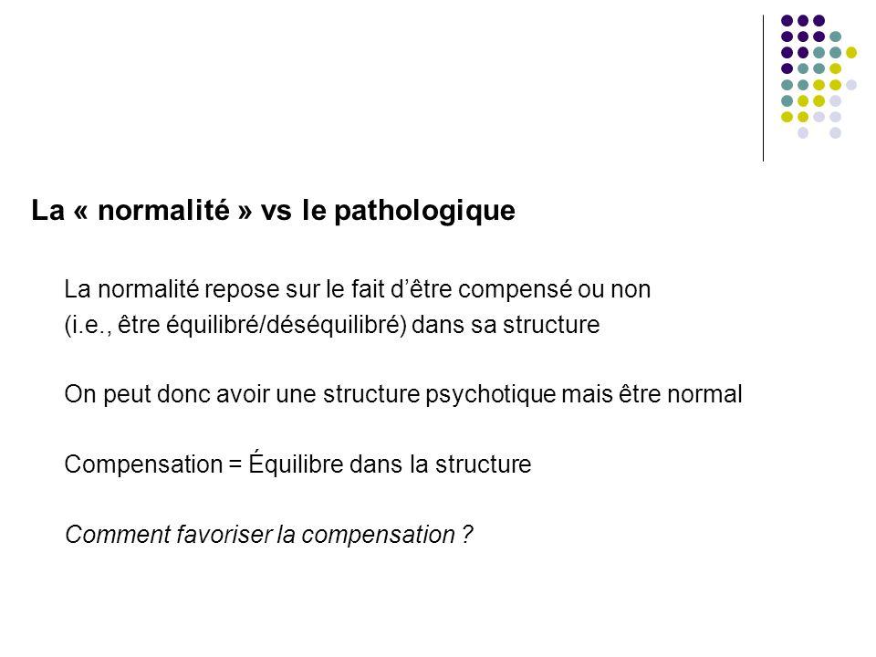 La « normalité » vs le pathologique La normalité repose sur le fait d'être compensé ou non (i.e., être équilibré/déséquilibré) dans sa structure On peut donc avoir une structure psychotique mais être normal Compensation = Équilibre dans la structure Comment favoriser la compensation ?