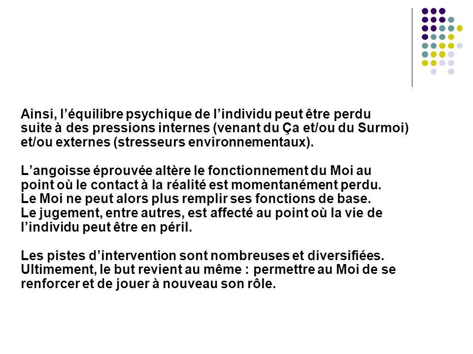 Ainsi, l'équilibre psychique de l'individu peut être perdu suite à des pressions internes (venant du Ça et/ou du Surmoi) et/ou externes (stresseurs environnementaux).