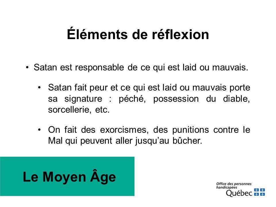Éléments de réflexion •Satan est responsable de ce qui est laid ou mauvais. •Satan fait peur et ce qui est laid ou mauvais porte sa signature : péché,