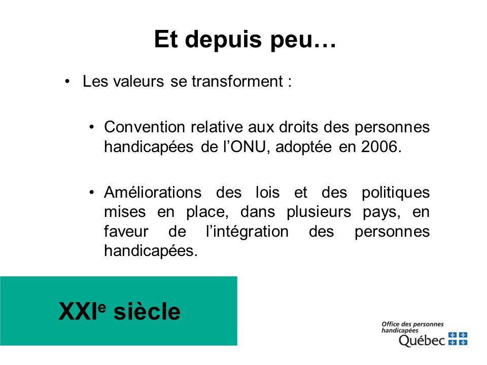 XXI e siècle •Les valeurs se transforment : •Convention relative aux droits des personnes handicapées de l'ONU, adoptée en 2006. •Améliorations des lo