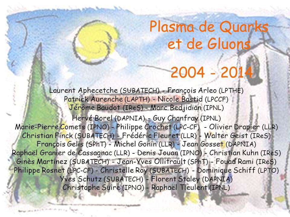 Plasma de Quarks et de Gluons 2004 Laurent Aphecetche (SUBATECH) - François Arleo (LPTHE) Patrick Aurenche (LAPTH) - Nicole Bastid (LPCCF) Jérôme Baudot (IReS) - Marc Bedjidian (IPNL) Hervé Borel (DAPNIA) - Guy Chanfray (IPNL) Marie-Pierre Comets (IPNO) - Philippe Crochet (LPC-CF) - Olivier Drapier (LLR) Christian Finck (SUBATECH) - Frédéric Fleuret (LLR) - Walter Geist (IReS) François Gelis (SPhT) - Michel Gonin (LLR) - Jean Gosset (DAPNIA) Raphaël Granier de Cassagnac (LLR) - Denis Jouan (IPNO) - Christian Kuhn (IReS) Ginès Martinez (SUBATECH) - Jean-Yves Ollitrault (SPhT) - Fouad Rami (IReS) Philippe Rosnet (LPC-CF) - Christelle Roy (SUBATECH) - Dominique Schiff (LPTO) Yves Schutz (SUBATECH) - Florent Staley (DAPNIA) Christophe Suire (IPNO) - Raphaël Tieulent (IPNL) Nouvelles perspectives expérimentales au LHC Moyens et prospectives