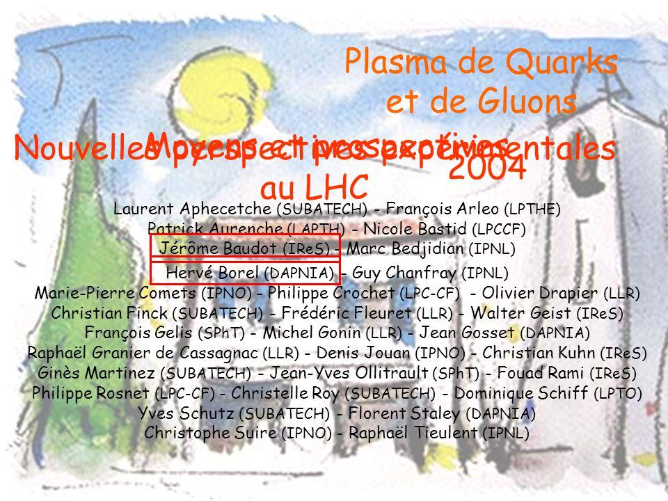 Plasma de Quarks et de Gluons 2004 Laurent Aphecetche (SUBATECH) - François Arleo (LPTHE) Patrick Aurenche (LAPTH) - Nicole Bastid (LPCCF) Jérôme Baud