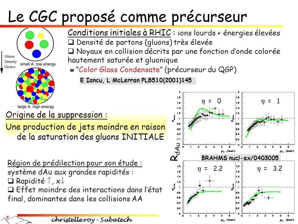 christelle roy - Subatech 21 Le CGC proposé comme précurseur Conditions initiales à RHIC : ions lourds + énergies élevées  Densité de partons (gluons