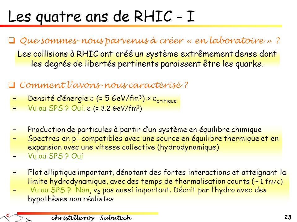 christelle roy - Subatech 23 Les quatre ans de RHIC - I  Que sommes-nous parvenus à créer « en laboratoire » ? Les collisions à RHIC ont créé un syst