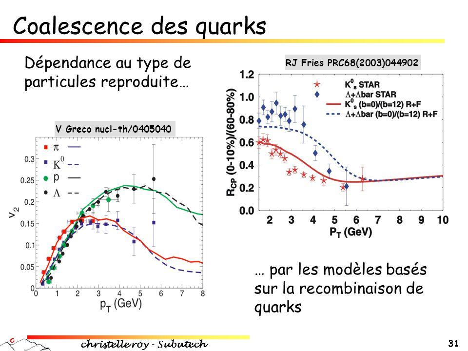 christelle roy - Subatech 31 Coalescence des quarks V Greco nucl-th/0405040 Dépendance au type de particules reproduite… RJ Fries PRC68(2003)044902 …