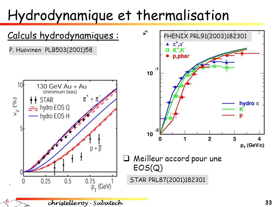 christelle roy - Subatech 33 Calculs hydrodynamiques : Hydrodynamique et thermalisation PHENIX PRL91(2003)182301  Meilleur accord pour une EOS(Q) STA