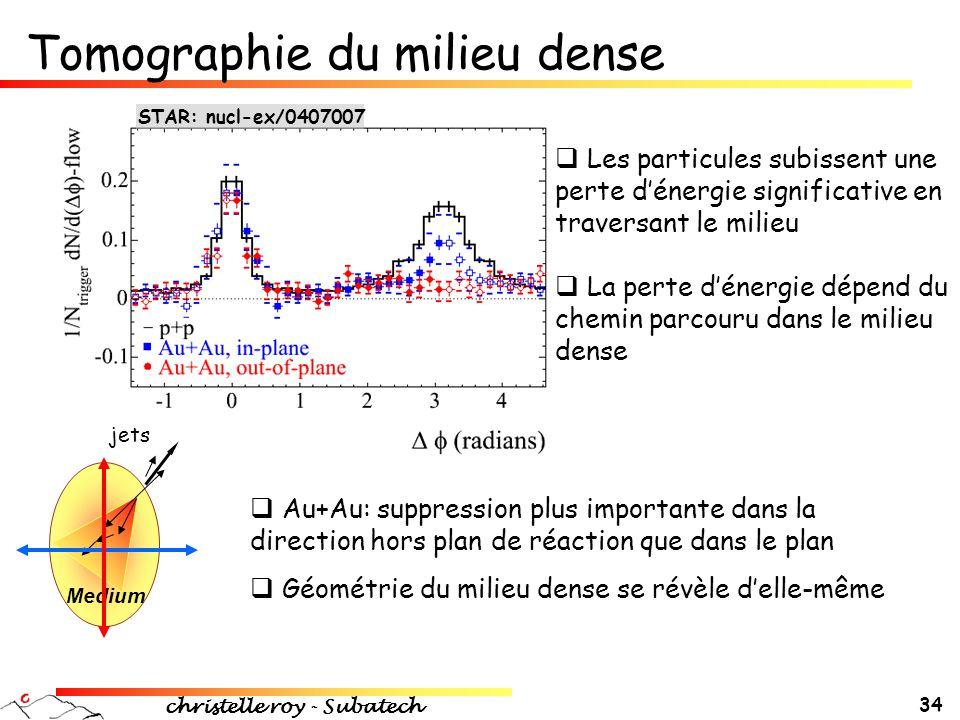 christelle roy - Subatech 34  Les particules subissent une perte d'énergie significative en traversant le milieu  La perte d'énergie dépend du chemi