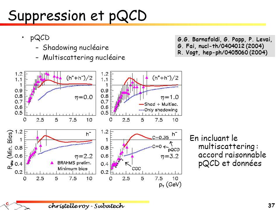 christelle roy - Subatech 37 •pQCD –Shadowing nucléaire –Multiscattering nucléaire En incluant le multiscattering : accord raisonnable pQCD et données
