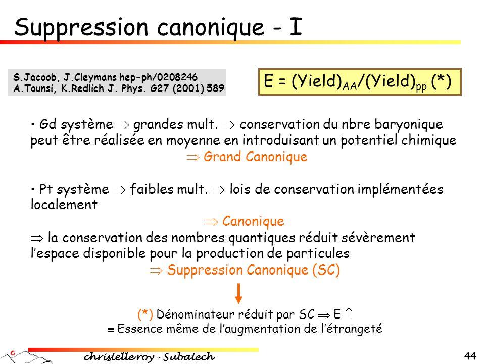 christelle roy - Subatech 44 E = (Yield) AA /(Yield) pp (*) • Gd système  grandes mult.  conservation du nbre baryonique peut être réalisée en moyen