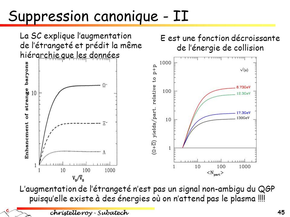 christelle roy - Subatech 45 E est une fonction décroissante de l'énergie de collision La SC explique l'augmentation de l'étrangeté et prédit la même