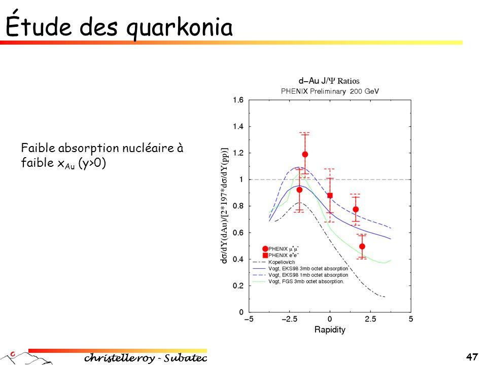 christelle roy - Subatech 47 Étude des quarkonia Faible absorption nucléaire à faible x Au (y>0)