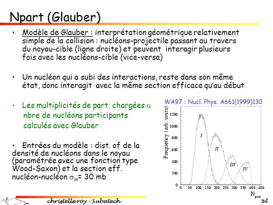 christelle roy - Subatech 52 •Modèle de Glauber : interprétation géométrique relativement simple de la collision : nucléons-projectile passant au trav