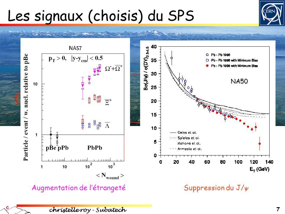 christelle roy - Subatech 18 Suppression des jets + Quantification des effets nucléaires de la matière nucléaire froide avec les collisions pp et dAu : - effets de shadowing (modification des f ns de structures des partons) - collisions multiples (effet Cronin) Milieu dense : • perte d'énergie des partons, abaissant les p T • suppression de jets, des hadrons • phénomène  à la densité d'énergie donc à la densité gluonique (jet-quenching) Suppression à haut p T  phase QGP Cronin : collisions multiples modifiant les p T M Gyulassy, X Wang NPB420(1994)583 R Baier, Y Dokshitzer, A Mueller, S Peigne,D Schiff NPB483(1997)291 nucleon parton jet