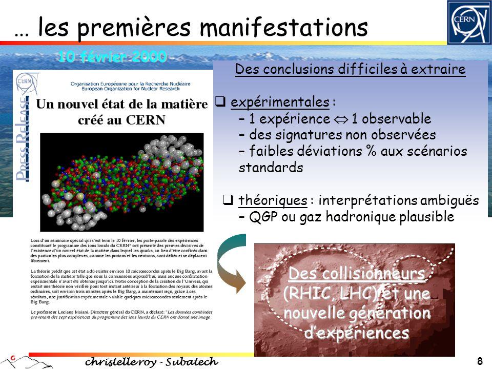 christelle roy - Subatech 19  Évolution avec la centralité des collisions Au+Au radicalement différente de celle des collisions d+Au  AuAu : effet dû à un milieu très dense (jamais observé à plus basse énergie) « Voir » l'existence d'un milieu dense Au + Au d + Au PRC69(2004)034910 R AA = d 2 N/dp T d  (Au+Au) N Coll d 2 N/dp T d  (p+p) Facteur de modification nucléaire :
