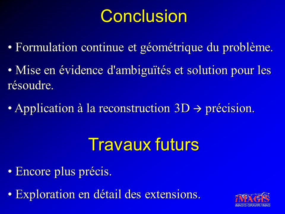 iMAGIS-GRAVIR / IMAG Conclusion • Formulation continue et géométrique du problème.