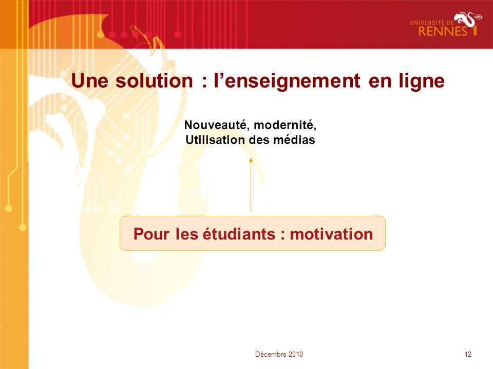 Une solution : l'enseignement en ligne Nouveauté, modernité, Utilisation des médias Pour les étudiants : motivation 12Décembre 2010