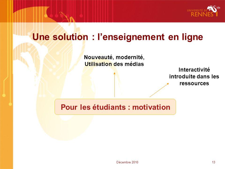 Une solution : l'enseignement en ligne Nouveauté, modernité, Utilisation des médias Pour les étudiants : motivation Interactivité introduite dans les