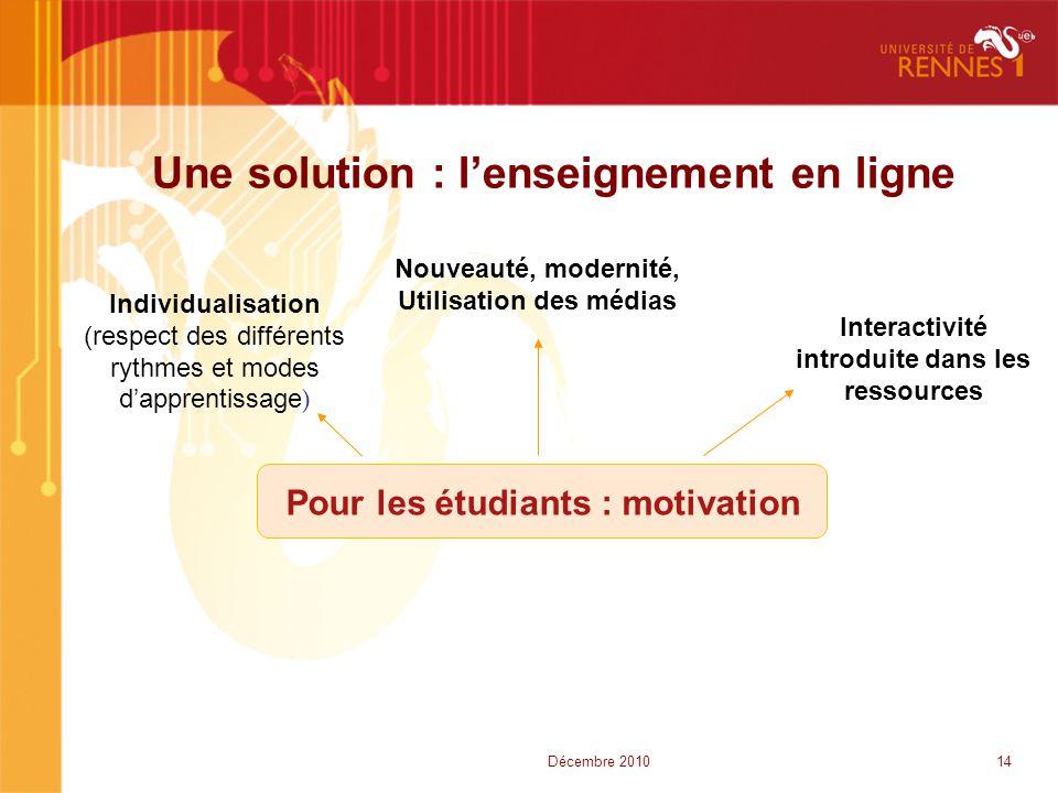Une solution : l'enseignement en ligne Nouveauté, modernité, Utilisation des médias Pour les étudiants : motivation Individualisation (respect des dif