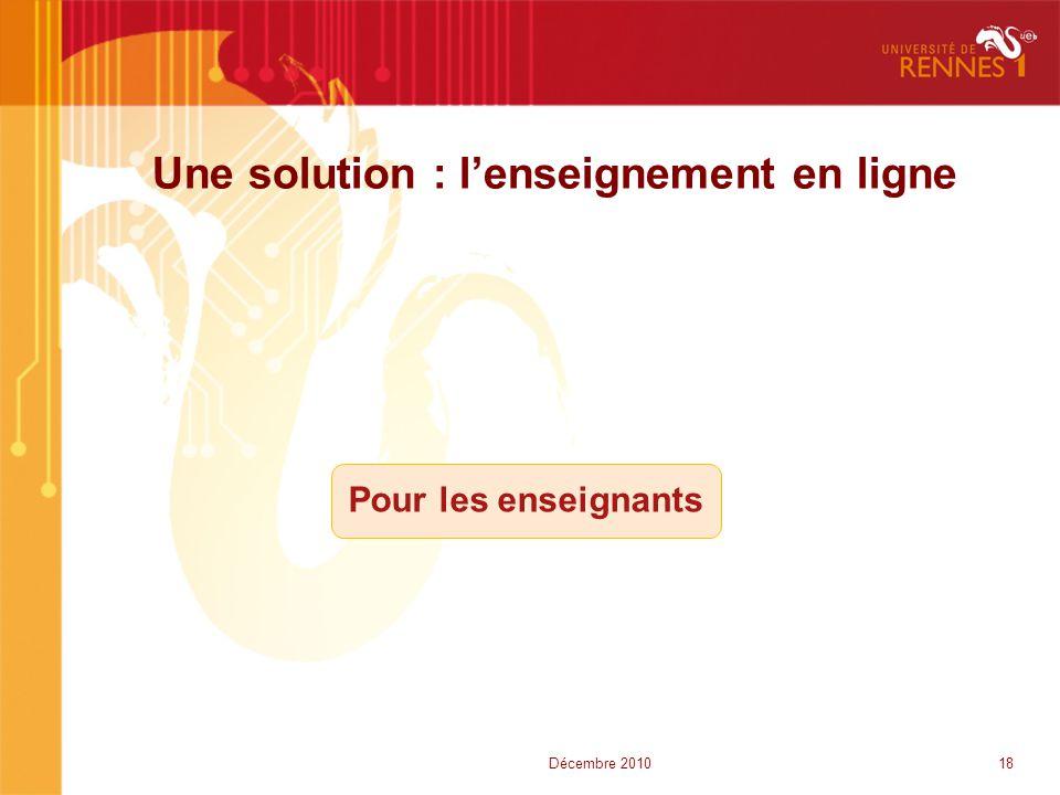 Une solution : l'enseignement en ligne Pour les enseignants 18Décembre 2010