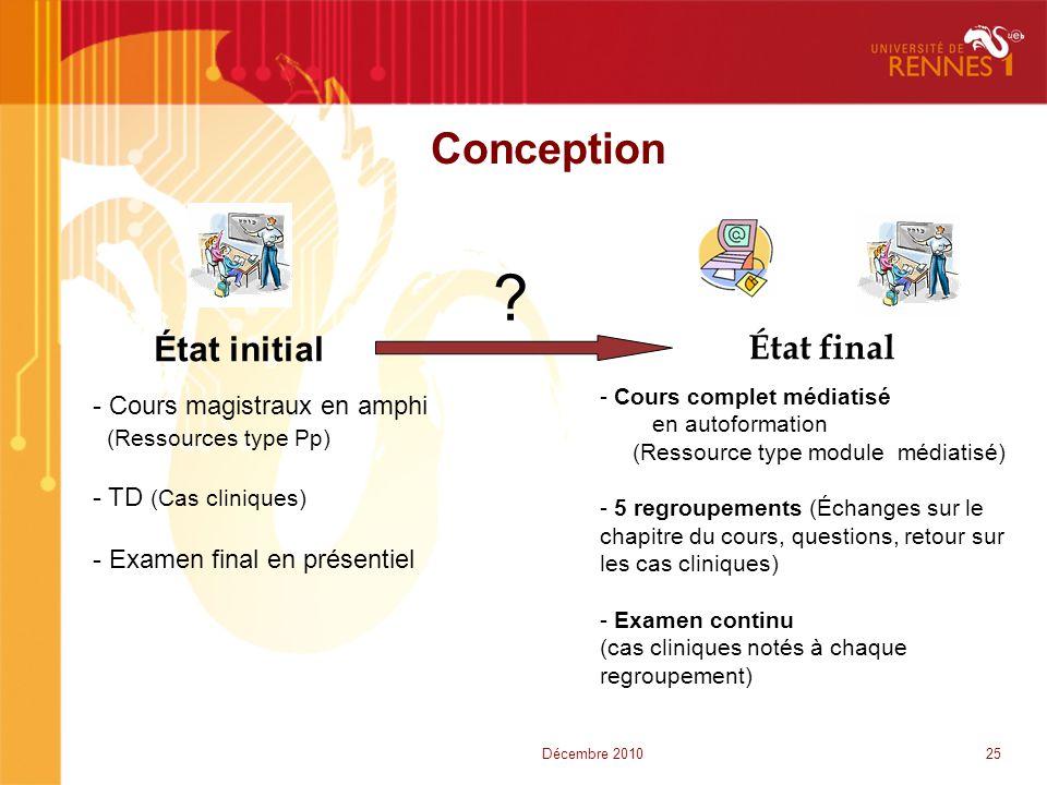 Conception État initial État final ? - Cours magistraux en amphi (Ressources type Pp) - TD (Cas cliniques) - Examen final en présentiel - Cours comple