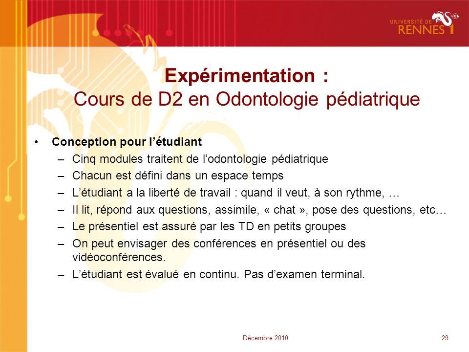 Expérimentation : Cours de D2 en Odontologie pédiatrique •Conception pour l'étudiant –Cinq modules traitent de l'odontologie pédiatrique –Chacun est d