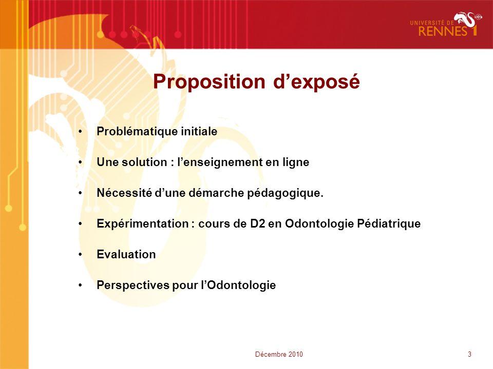 Proposition d'exposé •Problématique initiale •Une solution : l'enseignement en ligne •Nécessité d'une démarche pédagogique. •Expérimentation : cours d