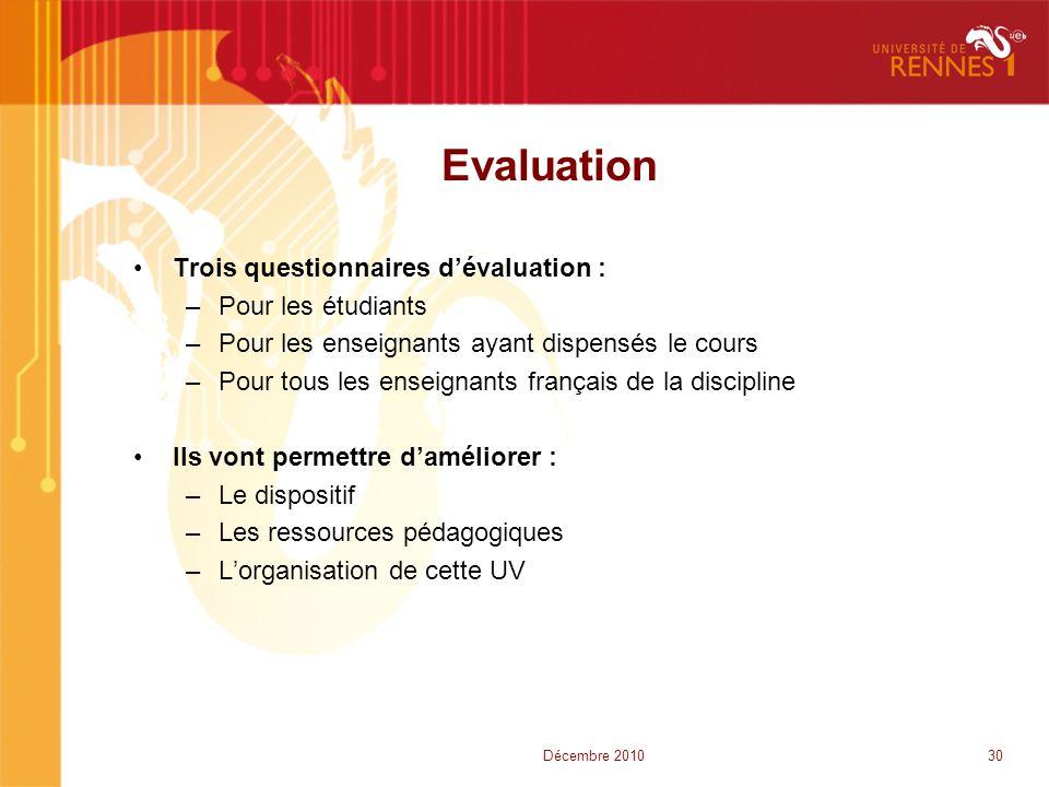 Evaluation •Trois questionnaires d'évaluation : –Pour les étudiants –Pour les enseignants ayant dispensés le cours –Pour tous les enseignants français