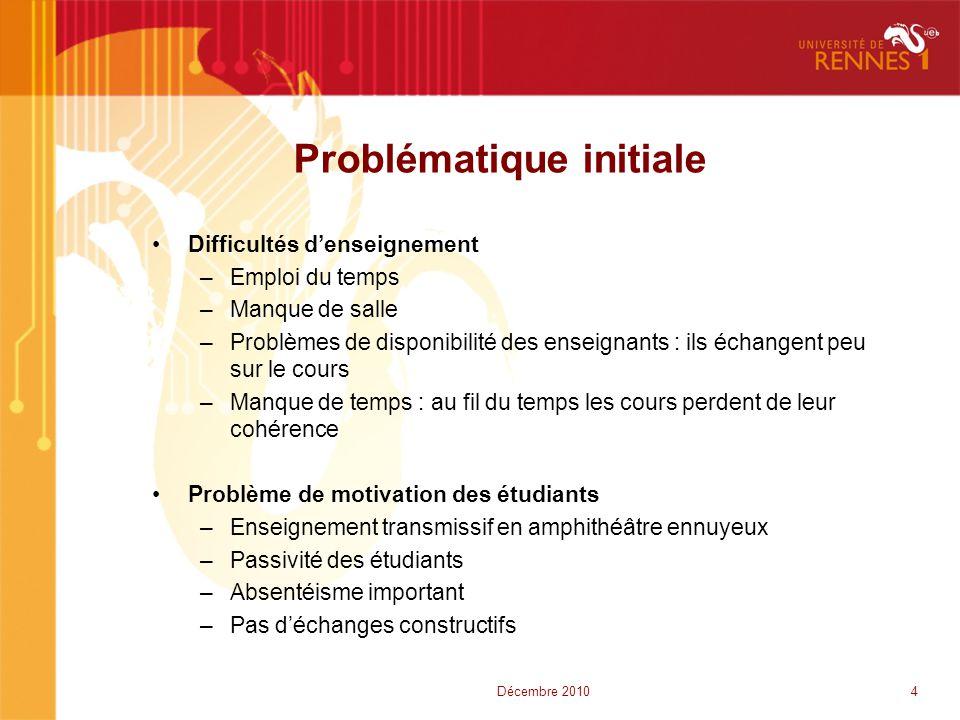 Problématique initiale 4Décembre 2010 •Difficultés d'enseignement –Emploi du temps –Manque de salle –Problèmes de disponibilité des enseignants : ils