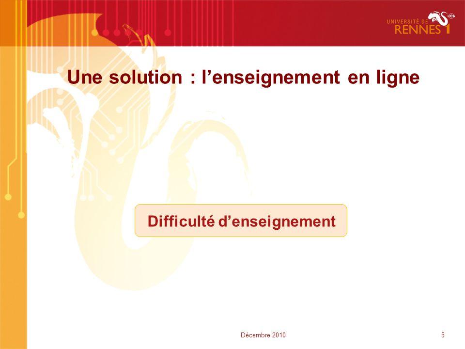 Une solution : l'enseignement en ligne Difficulté d'enseignement 5Décembre 2010