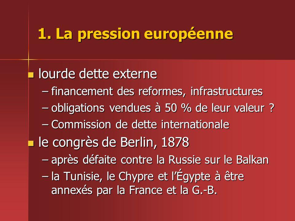 1. La pression européenne  lourde dette externe –financement des reformes, infrastructures –obligations vendues à 50 % de leur valeur ? –Commission d