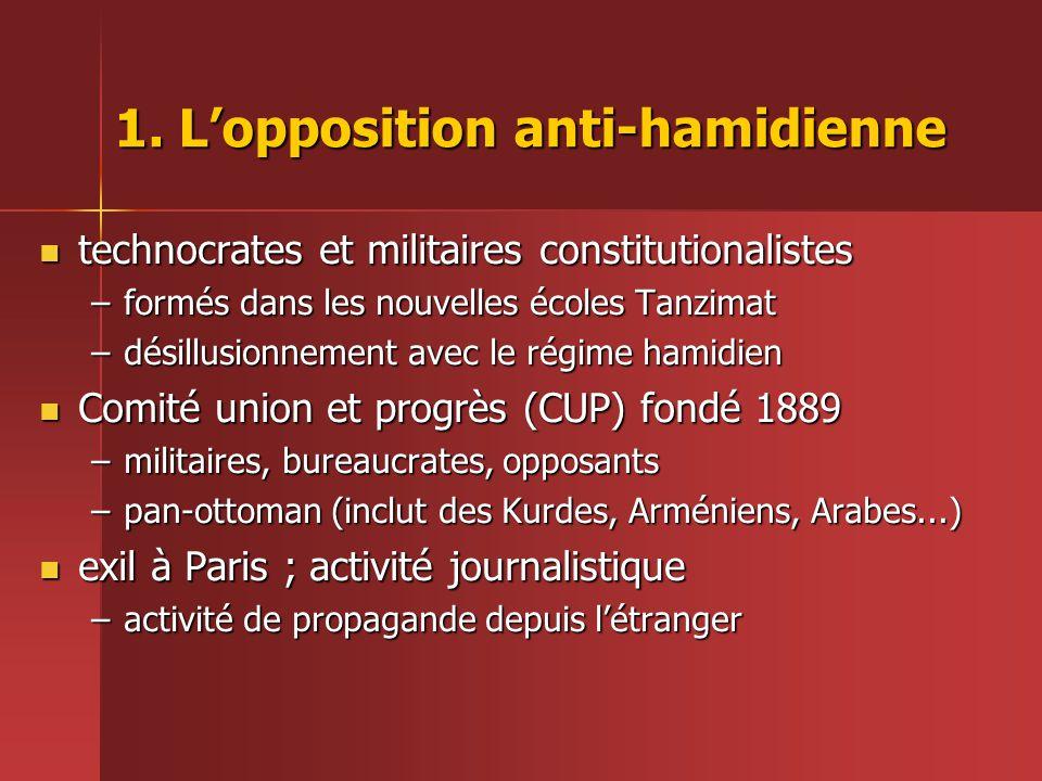 1. L'opposition anti-hamidienne  technocrates et militaires constitutionalistes –formés dans les nouvelles écoles Tanzimat –désillusionnement avec le