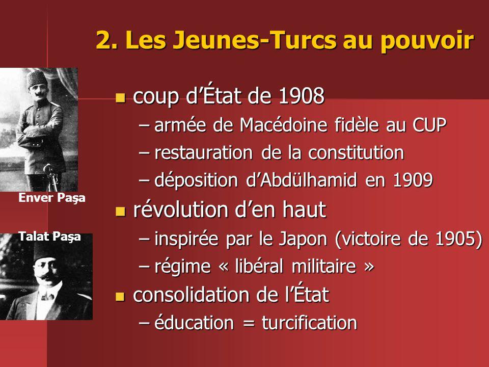2. Les Jeunes-Turcs au pouvoir  coup d'État de 1908 –armée de Macédoine fidèle au CUP –restauration de la constitution –déposition d'Abdülhamid en 19