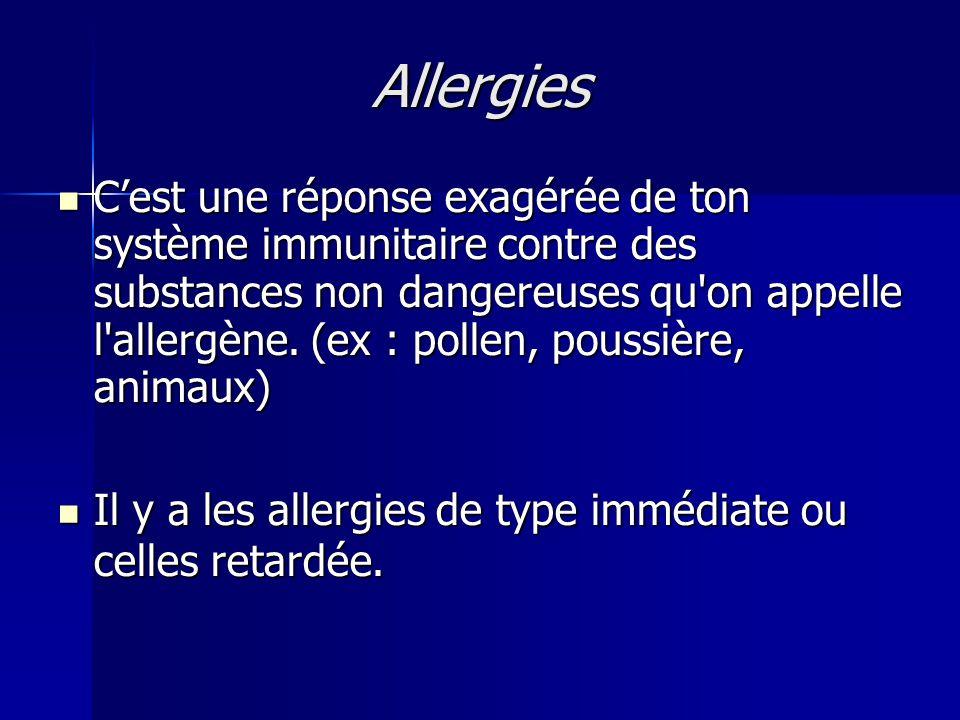 Allergies  C'est une réponse exagérée de ton système immunitaire contre des substances non dangereuses qu'on appelle l'allergène. (ex : pollen, pouss