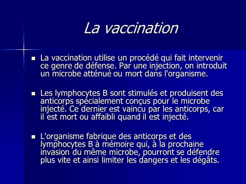 La vaccination  La vaccination utilise un procédé qui fait intervenir ce genre de défense. Par une injection, on introduit un microbe atténué ou mort