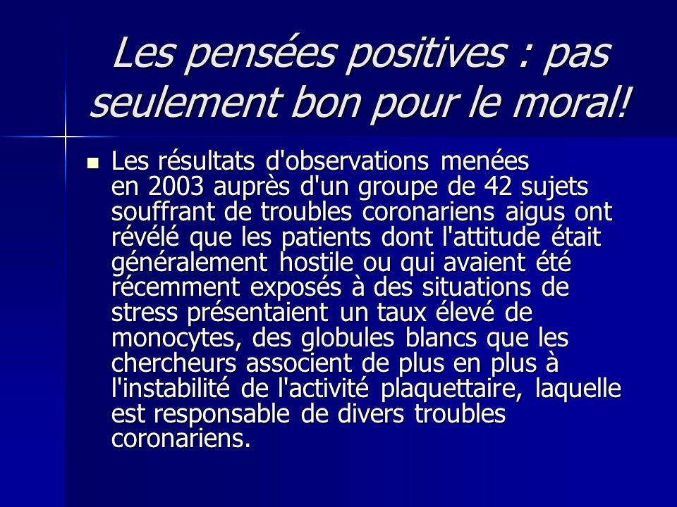Les pensées positives : pas seulement bon pour le moral!  Les résultats d'observations menées en 2003 auprès d'un groupe de 42 sujets souffrant de tr