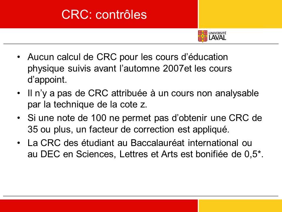 CRC: contrôles •Aucun calcul de CRC pour les cours d'éducation physique suivis avant l'automne 2007et les cours d'appoint. •Il n'y a pas de CRC attrib
