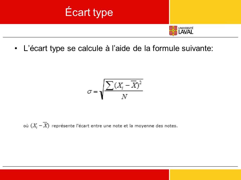 Écart type •L'écart type se calcule à l'aide de la formule suivante:
