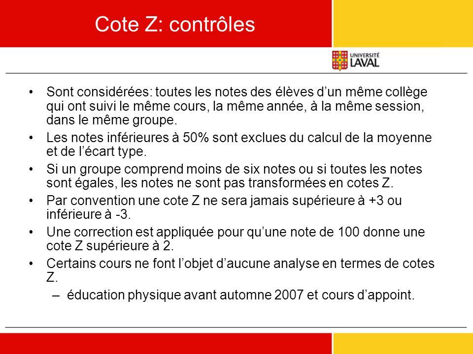 Cote Z: contrôles •Sont considérées: toutes les notes des élèves d'un même collège qui ont suivi le même cours, la même année, à la même session, dans