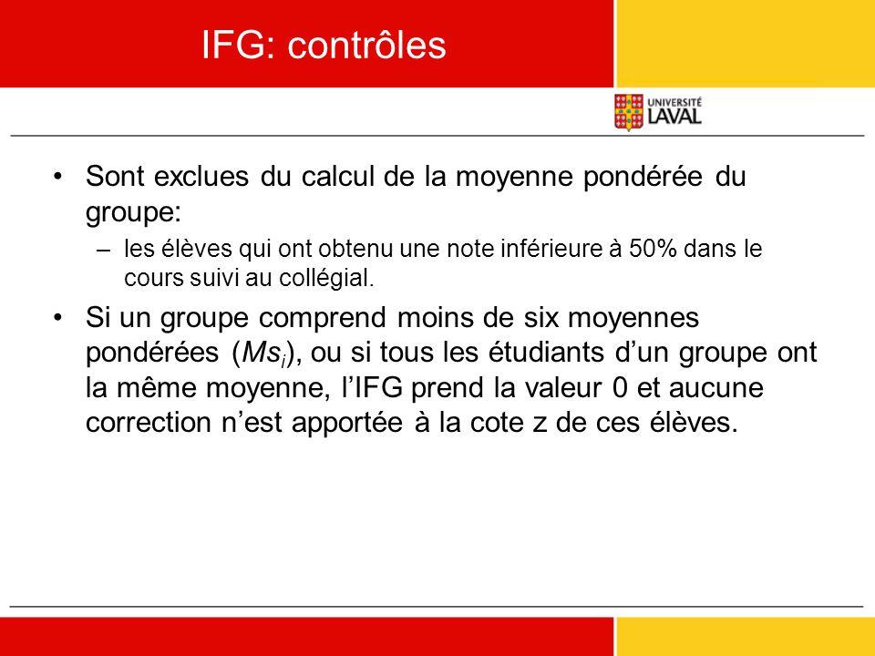 IFG: contrôles •Sont exclues du calcul de la moyenne pondérée du groupe: –les élèves qui ont obtenu une note inférieure à 50% dans le cours suivi au c