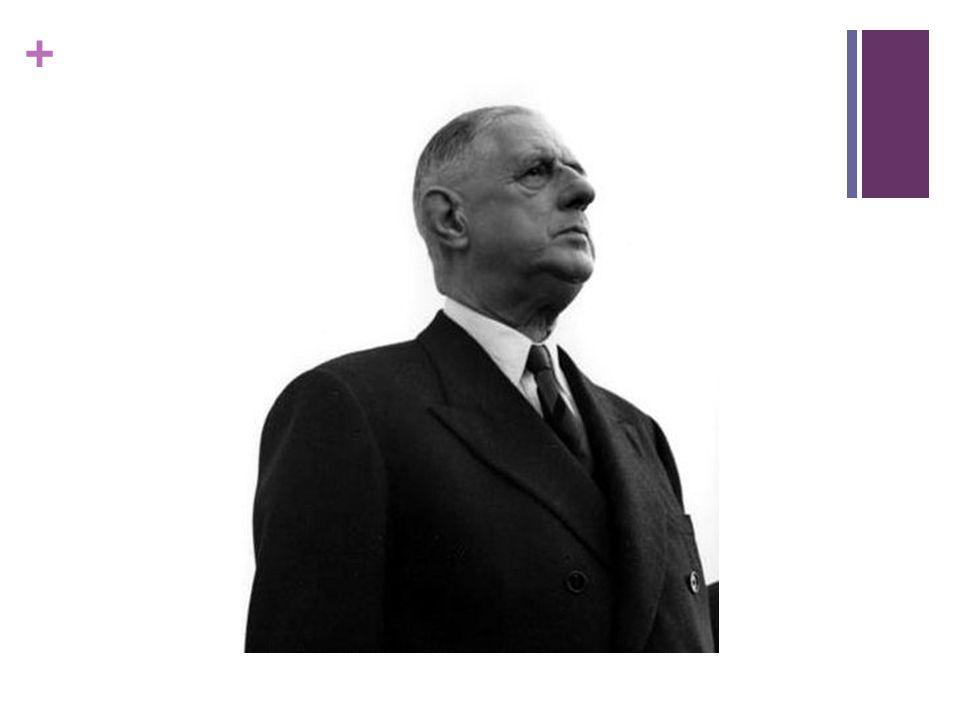 + La Cinquième République  La guerre d' Algérie est fini  La décolonisation  Il constitue une monnaie solide et une réserve d'or importante  Il crée un rapprochement entre la France et les pays d l'est  Il rétablît les relations diplomatiques et commerciales avec la Chine  Il change le système militaire  Il veut avoir une bombe atomique