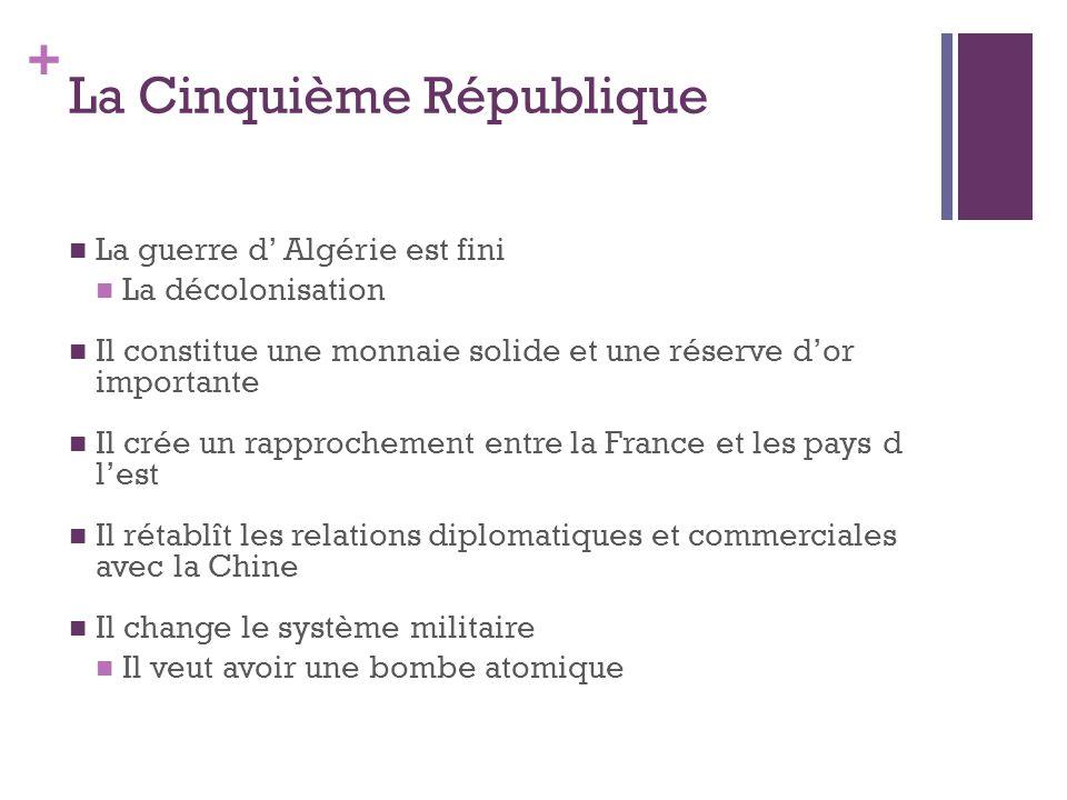 + La Cinquième République  La guerre d' Algérie est fini  La décolonisation  Il constitue une monnaie solide et une réserve d'or importante  Il cr