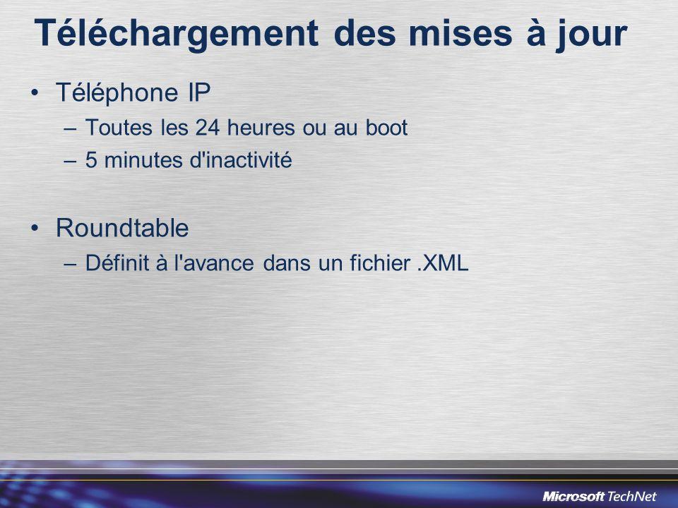 Téléchargement des mises à jour •Téléphone IP –Toutes les 24 heures ou au boot –5 minutes d inactivité •Roundtable –Définit à l avance dans un fichier.XML