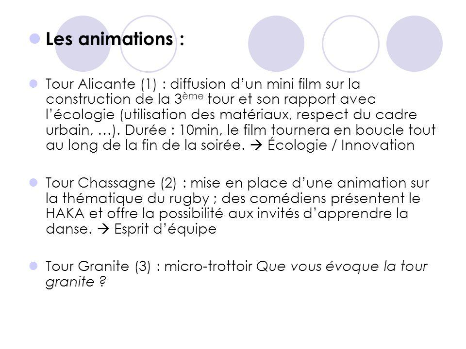  Les animations :  Tour Alicante (1) : diffusion d'un mini film sur la construction de la 3 ème tour et son rapport avec l'écologie (utilisation des